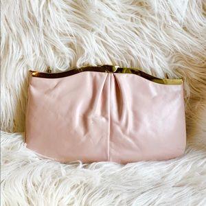 Vintage Pink Evening Clutch Bag Purse w Gold Strap